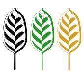 Watercolor green leaves set closeup — Stock Vector