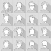 Flat people icons. Set of stylish people icons in gray scale — Stock Vector