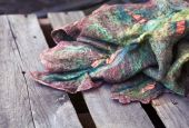 Scarf felting wool from sheep — Stock Photo