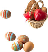 Colorful Easter eggs in a little basket. Easter background, spring themes. easter composition — Stock Vector