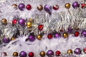 Christmas tinsel decorations — Foto Stock