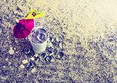 Little white bucket full of sand — Stock Photo