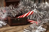 Christmas candies in box — Stock Photo