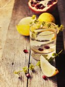 Lemon slices with water in glass — Stock Photo