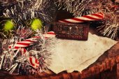 Christmas decoration with paper background — Stock Photo