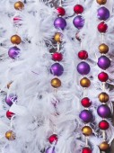Christmas tinsel decorations — Stock Photo