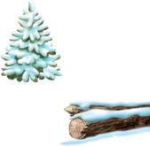 Fir pine tree covered with snow — 图库矢量图片