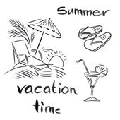 Black and white illustration of traveling themes, Summer vocation background — Stock Photo