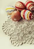 Colorful easter eggs background — Stock Photo