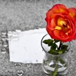 Red rose in    vase on sand — Stock Photo #69868751