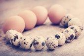 Перепела и куриные яйца на деревянный стол — Стоковое фото