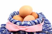 Basket  with chicken eggs — Stock Photo