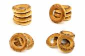 Collage of four photos of bagels — Stock Photo