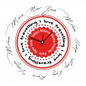 Abstract clock multilingual red with city names — Stock Photo