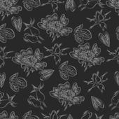 Seamless pattern with dog-roses — Vecteur