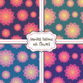 Seamless patterns with flowers — Stock Vector