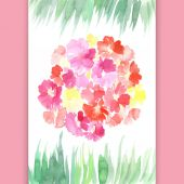 Watercolor flowers and grass card — Vettoriale Stock