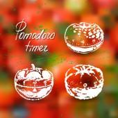 Pomodoro timer ink hand drawn illustration — Stock Vector