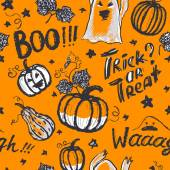 Halloween ink hand drawn ghosts and pumpkins with lettering seam — Stock Vector