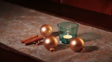 Cristmas decoration on the table — Vídeo de stock
