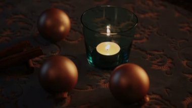 Christmas decoration on the table — Stock Video