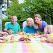 Big family of seven having meal outdoors — Stock Photo #52320587