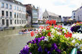 Beautiful Graslei along the river in Belgian medieval city of Ghent — Stock Photo