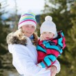 Mother and daughter outdoors in winter — Stock Photo #52978807
