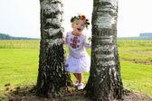 Girl dressed in national Ukrainian costume — Stock Photo