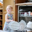 Little girl helping with dish washing machine — Stock Photo #53545095