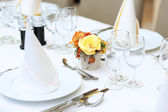 Table set in restaurant for event celebration — Stockfoto