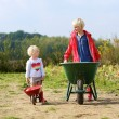 Brother and sister working in vegetables farm — Stock Photo #54522159