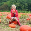 Brother and sister playing at Halloween pumpkin patch — Stock Photo #54522219