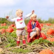 Brother and sister playing at Halloween pumpkin patch — Stock Photo #54522251