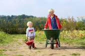 Brother and sister working in vegetables farm — Stock Photo