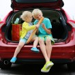 Brother and sister sitting in trunk after shopping — Stock Photo #55742985