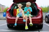 Brother and sister sitting in trunk after shopping — Stok fotoğraf