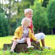 Brother and sister playing in the park — Stock Photo #56129653