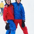 Two happy boys skiing in the Alps — Stock Photo #59308341