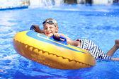 Happy boy in water park — Stock Photo