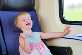 Little girl traveling by train — Stock Photo