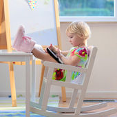 Preschooler girl using tablet pc at home or school — Stock Photo