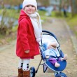 Little girl walking with stroller in the park — Stock Photo #66747193