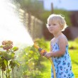 Cute little girl watering flowers in the garden — Stock Photo #68115257