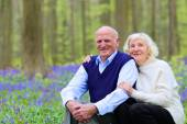 Happy seniors hiking in the forest — Stock Photo