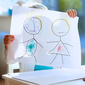 Lovely little girl drawing with felt-tip pens — Stock Photo