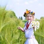 Little girl in Ukrainian dress playing in the field — Stock Photo #73982073