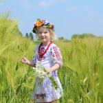 Little girl in Ukrainian dress playing in the field — Stock Photo #73982085