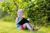 Slimme voorschoolse leeftijd leesboek meisje in het park — Stockfoto