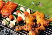 Delicious griller meat with vegetables — Stok fotoğraf
